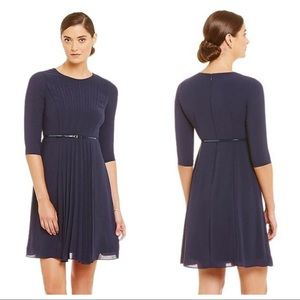 Adrianna Papell Navy Blue Pleated Front Dress 2P